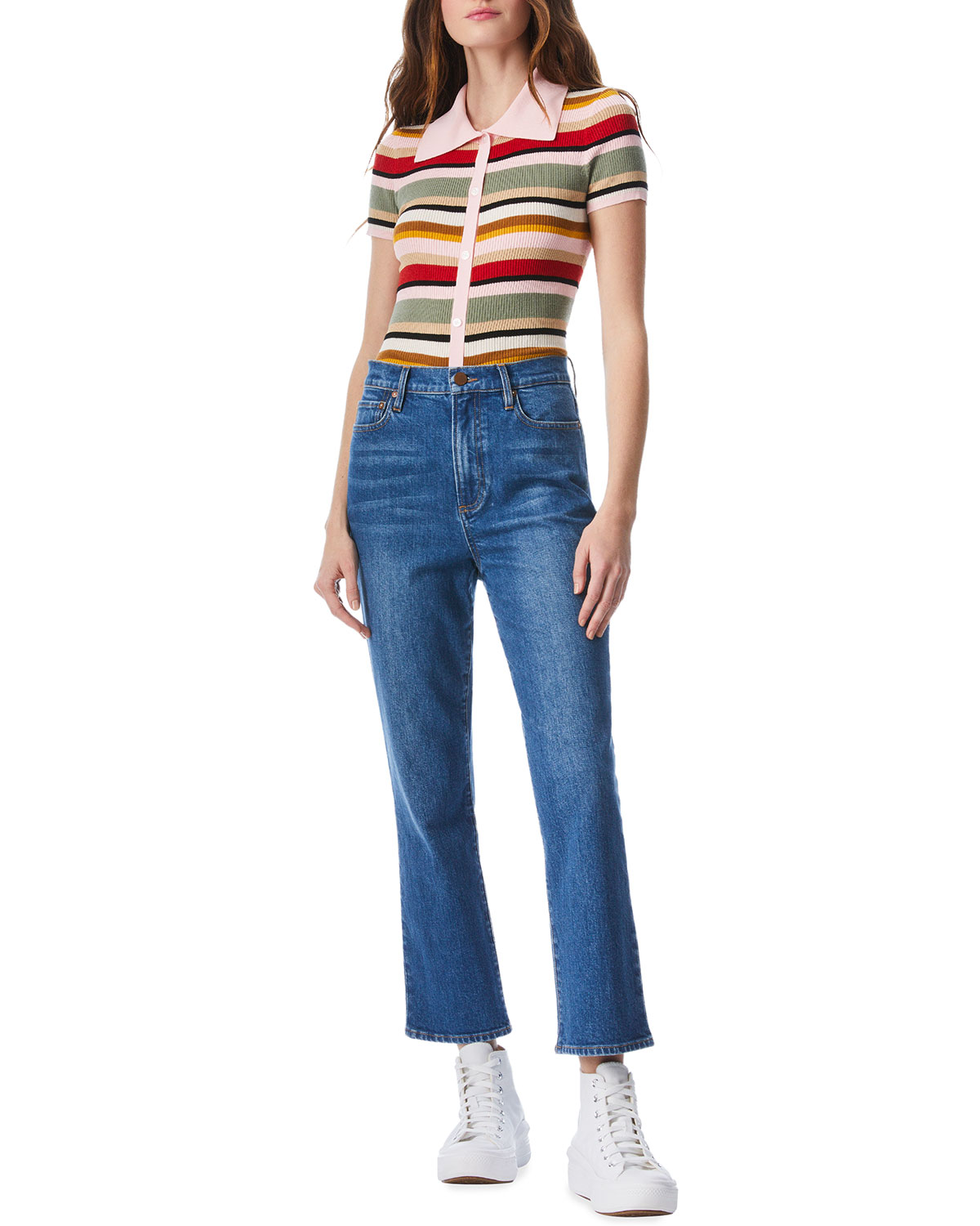 Liza Mid-Rise Straight Ankle Jeans