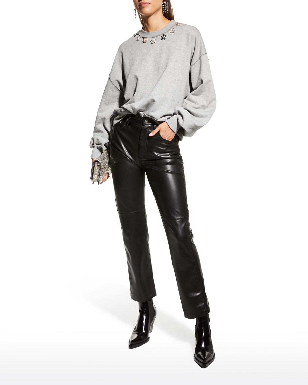 Brandy Blouson-Sleeve Bejeweled Pullover Top