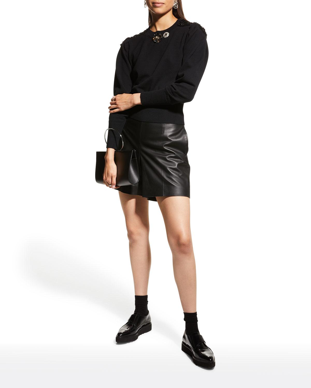 Kacey Bejeweled Fine-Gauge Knit Sweater