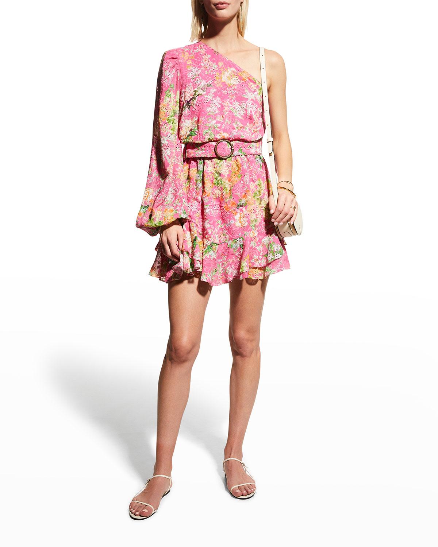 Belted One-Shoulder Short Dress