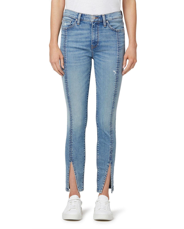 Barbara High-Waist Skinny Jeans with Spliced Hem