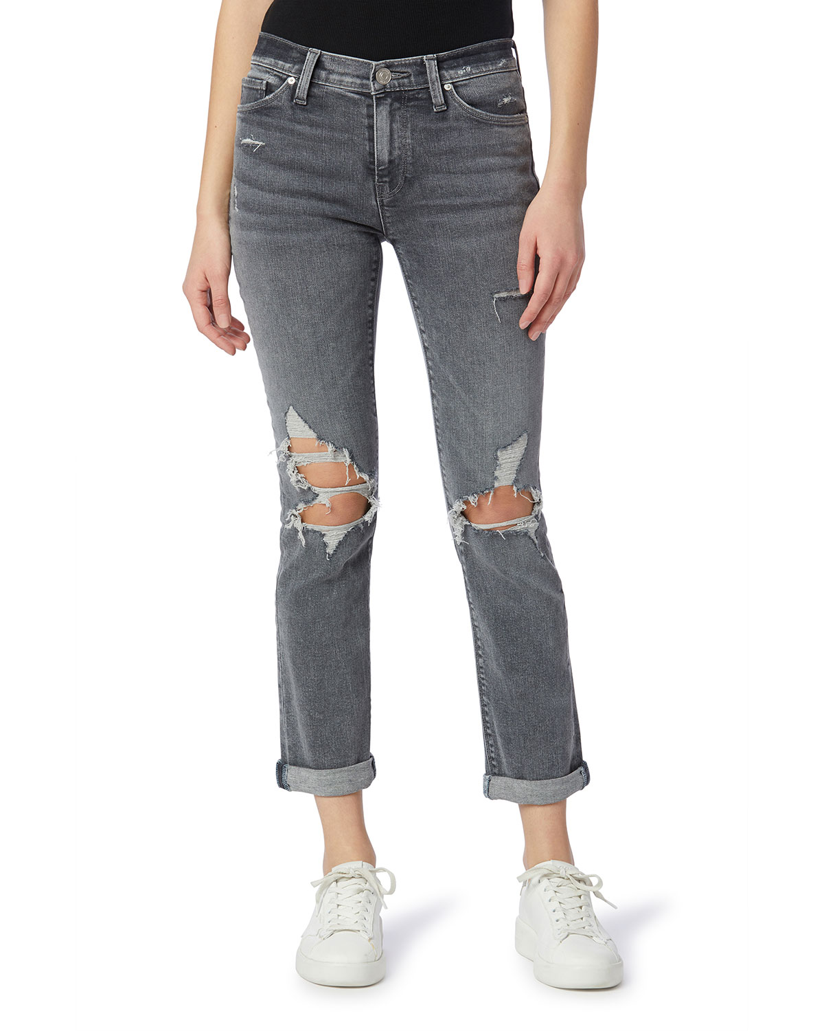 Nico Mid-Rise Straight Ankle Jeans with Rolled Hem