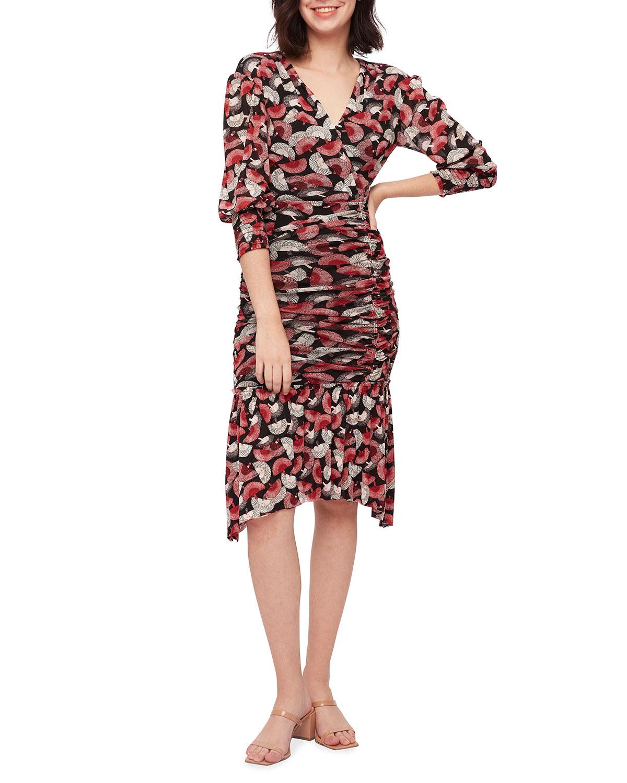 Caitlon Flounce-Hem Fan-Print Midi Dress