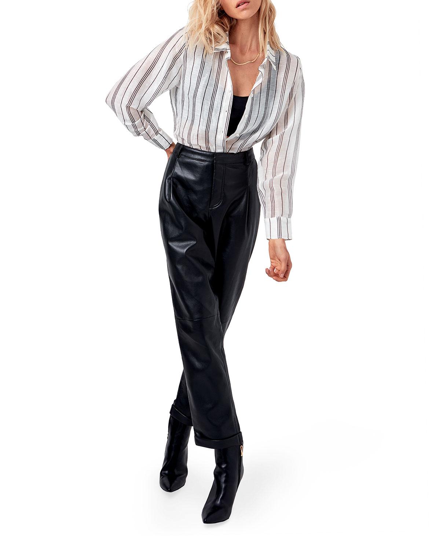 Quinn Striped Button-Down Blouse