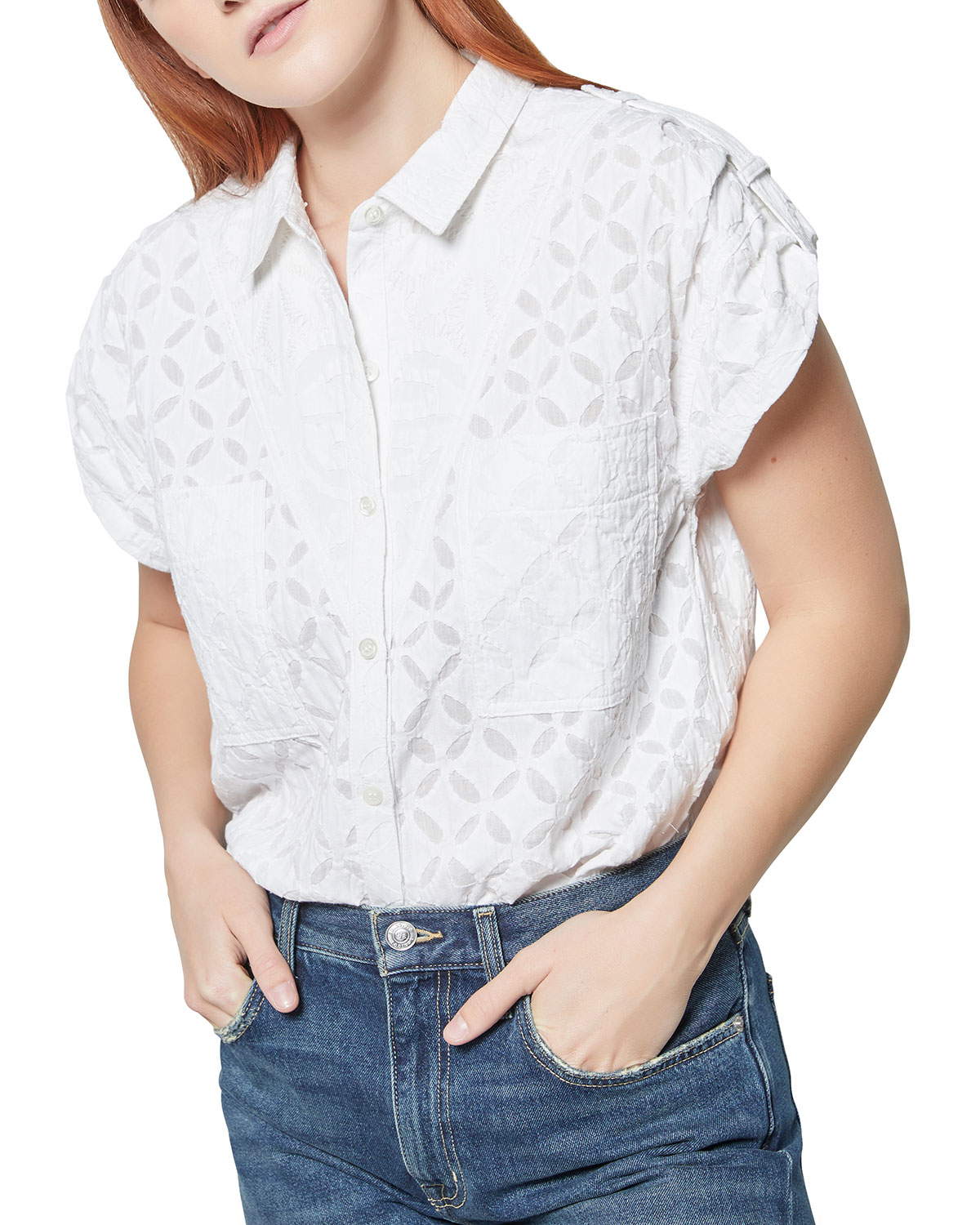 Camille Short-Sleeve Collared Shirt