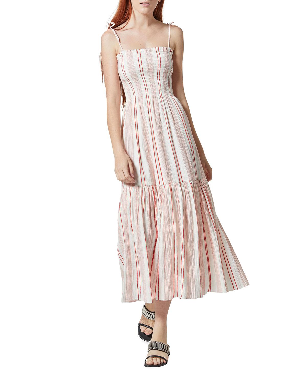 Jailene Stripe Midi Flounce Dress