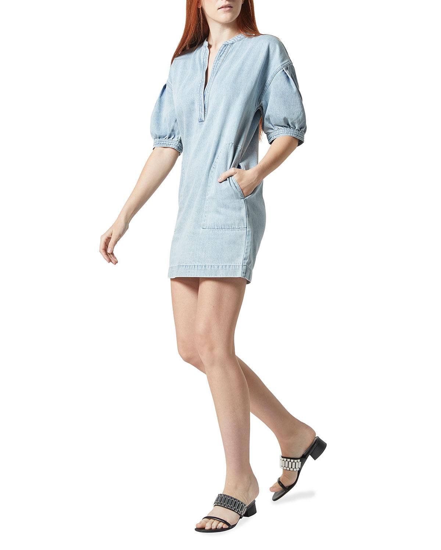 Carline Short-Sleeve Denim Dress