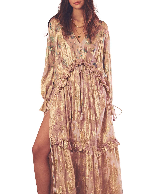 Ruffle-Trim Metallic Kaftan Dress