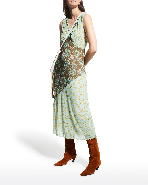Combo Printed Mesh Midi Dress