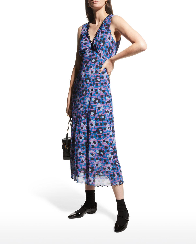 Sapphire Flowers Mesh Midi Dress