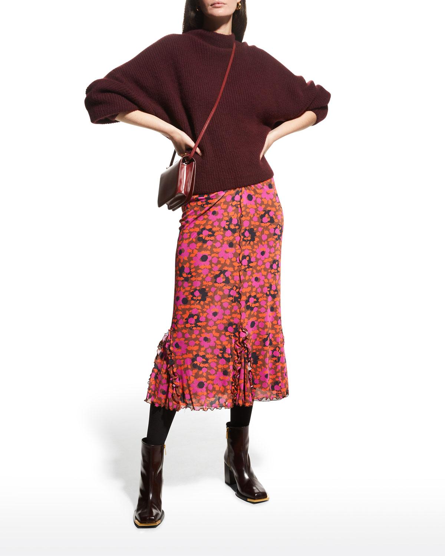 Espresso Flowers Mesh Skirt