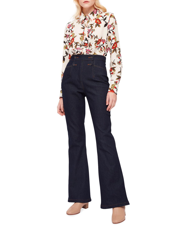 Kate Floral Button-Front Shirt