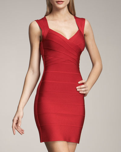 Cross-Bust Open-Back Bandage Dress, Lipstick