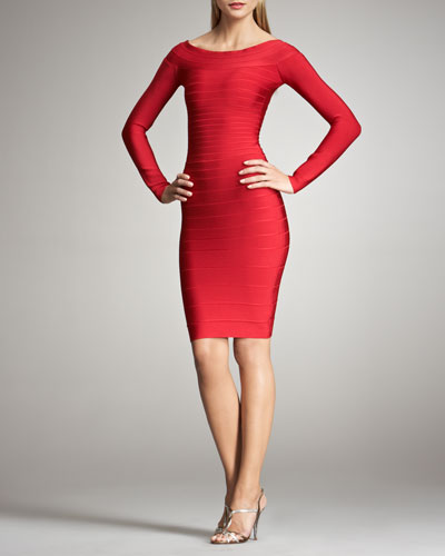 Long-Sleeve Bandage Dress