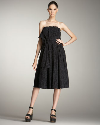 Tie-Waist Strapless Eyelet Dress