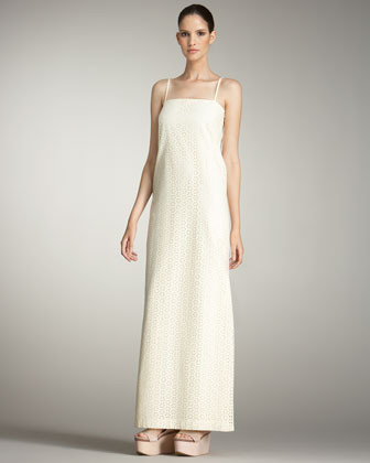 Eyelet Shift Maxi Dress