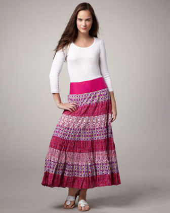 Tiered Crinkled Maxi Skirt
