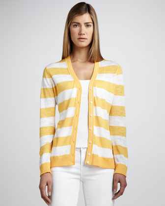 Striped Slub Cardigan