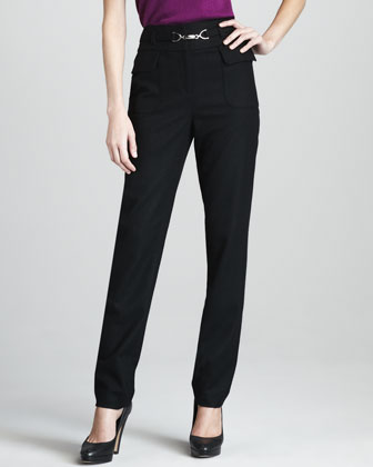 High-Waist Stretch-Flannel Pants