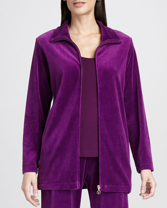 Long Velour Jacket, Petite