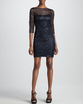 Metallic Lace Cocktail Dress