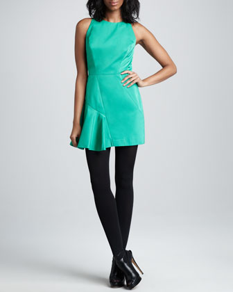 Saxon Satin-Panel Dress, Clover