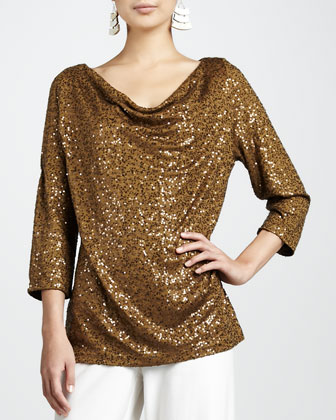Sequined Drape-Neck Top
