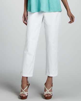 Slim Twill Ankle Pants, White