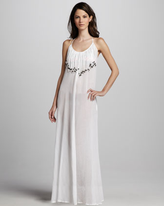 Fringed Gauze Maxi Dress