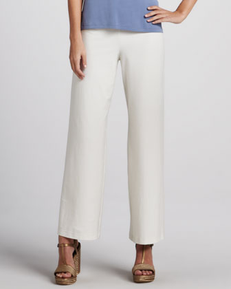 Washable Wide-Leg Crepe Pants
