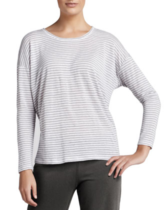 Striped Long-Sleeve Linen Top
