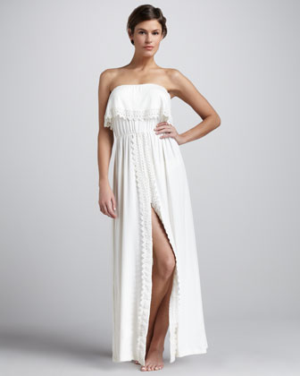 Nikola Eyelet-Trim Strapless Coverup Maxi Dress