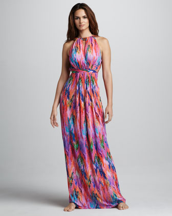 Tie-Back Halter Coverup Maxi Dress
