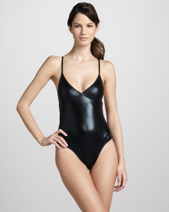 Glossy One-Piece Swimsuit