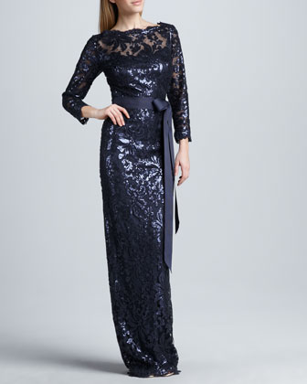 Belted Sequin-Lace Gown