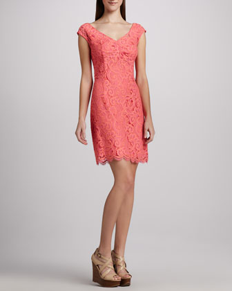 Rosaline Lace Cap-Sleeve Dress
