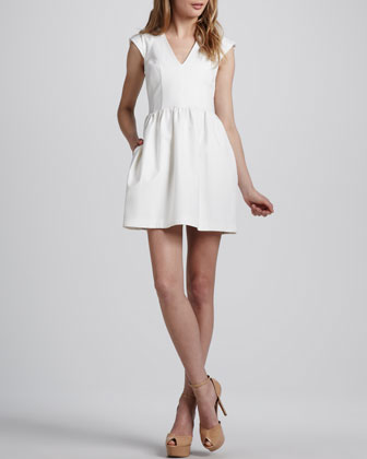 Stretch-Twill V-Neck Dress