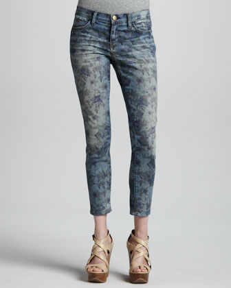 The Low Rise Burnt Floral Stiletto Jeans
