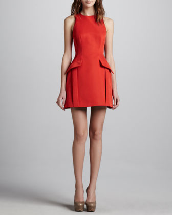 Peplum-Pocketed Dress, Red
