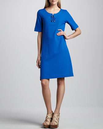 Pique Lace-Up Shift Dress
