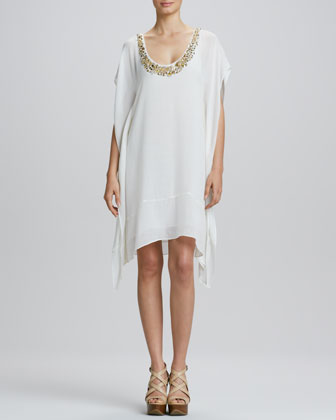 Beaded-Neck Caftan Dress