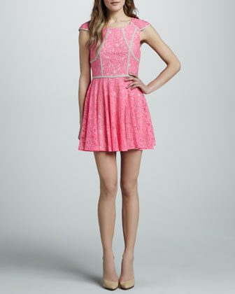 Mr. Jones Contrast-Trim Lace Dress