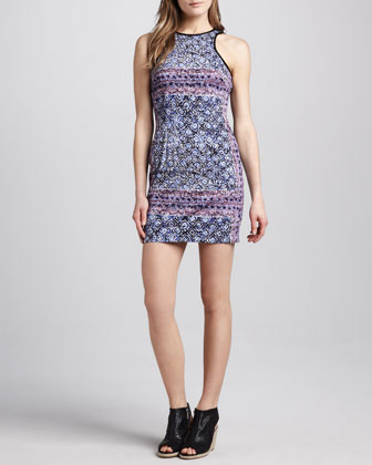 Printed Fitted Tank Dress