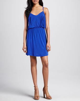 Trina Fringe-Top Jersey Dress