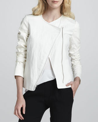 Leather-Sleeve Asymmetric Jacket