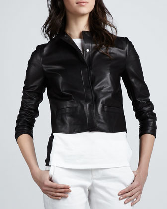 Leather Snap-Front Jacket
