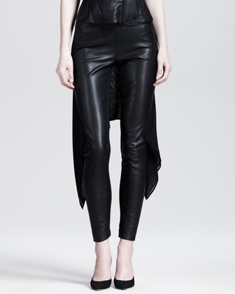Stretch Leather Train Leggings