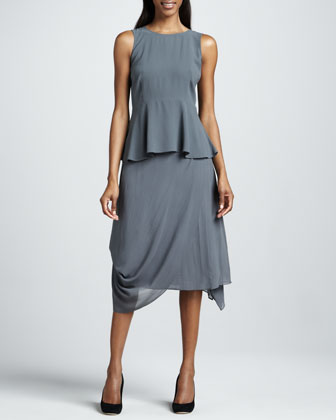 Draped Silk Sheer Skirt
