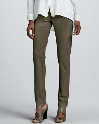 Ponte Seamed Straight-Leg Pants