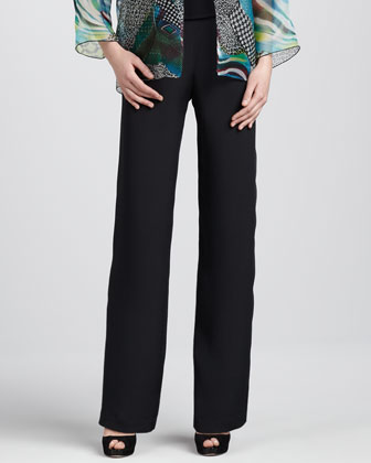 Silk Crepe Straight Pants